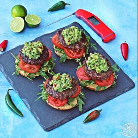 Following on from our earlier post for #NationalButchersWeek here is a fab recipe for BBQ chilli burgers with spicy guacamole! Visit @fabfood4all for the recipe . . . . #bbq #burgers #guacamole #avacado #cookedtoperfection #thermapen #Thermometer #bbqlovers #eatwelllivewell #freshfood #foodie #ukfoodbloggers #madeinbritain🇬🇧 #Temperature #summerbbq #beefburgers