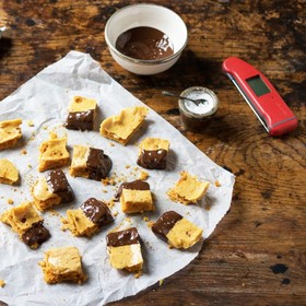 Whether you call it cinder toffee, puff candy, honeycomb, hokey pokey or sea foam, this treat is a firm favourite for both Bonfire Night and Christmas Time. Recipe: @kateveggiedesserts . . . . #honeycomb #bonfirenight #gireworksnight #guyfawkes #chocolate #foodbloguk #ukfoodblogger #veggiedesserts #vegetarian #veggie #Thermapen #Thermometer #Temperature #foodie #foodphotography #britishmade #madeinbritian #homemadegift #candymaking #foodiegift